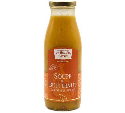 Soupe de Butternut coriandre et Lardons
